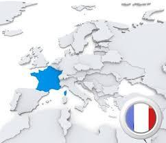 Francia, bandera y mapa