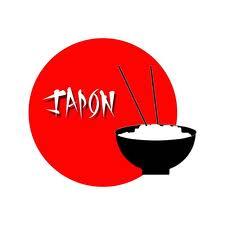 Bandera de japón y cuenco de arroz