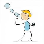 dibujo de niño haciendo pompas de jabón