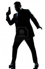 silueta de hombre con pistola