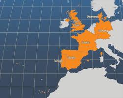 mapa de España, Francia, Reino Unido y Alemania