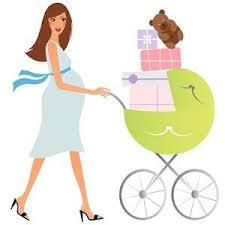 dibujo de mujer embarazada de compras